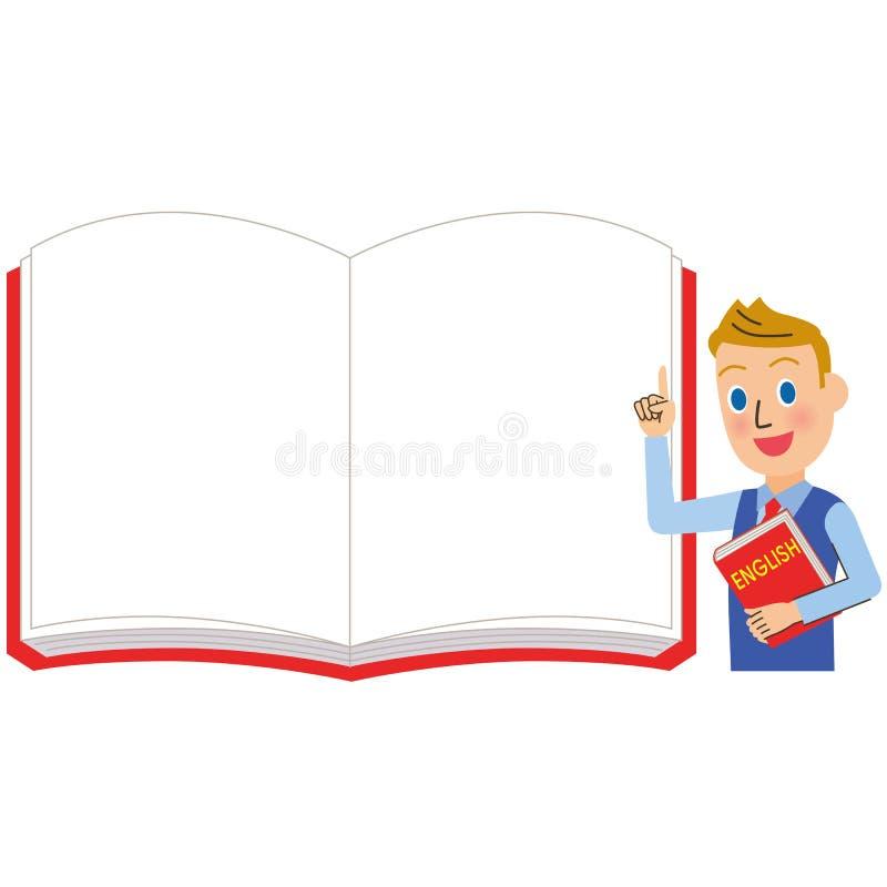 Profesor de inglés y cuaderno blanco para los hombres libre illustration
