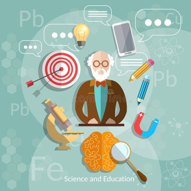 Profesor de la educación y de la ciencia de nuevo a escuela stock de ilustración