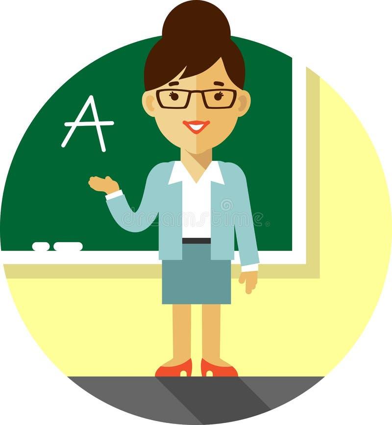 Profesor de la mujer cerca de la pizarra ilustración del vector
