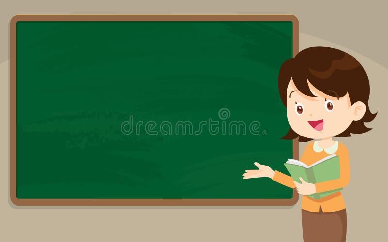 Profesor de la mujer joven delante de la pizarra stock de ilustración
