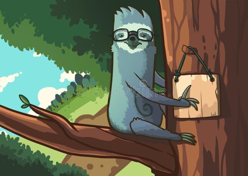 Profesor de la pereza en bosque stock de ilustración