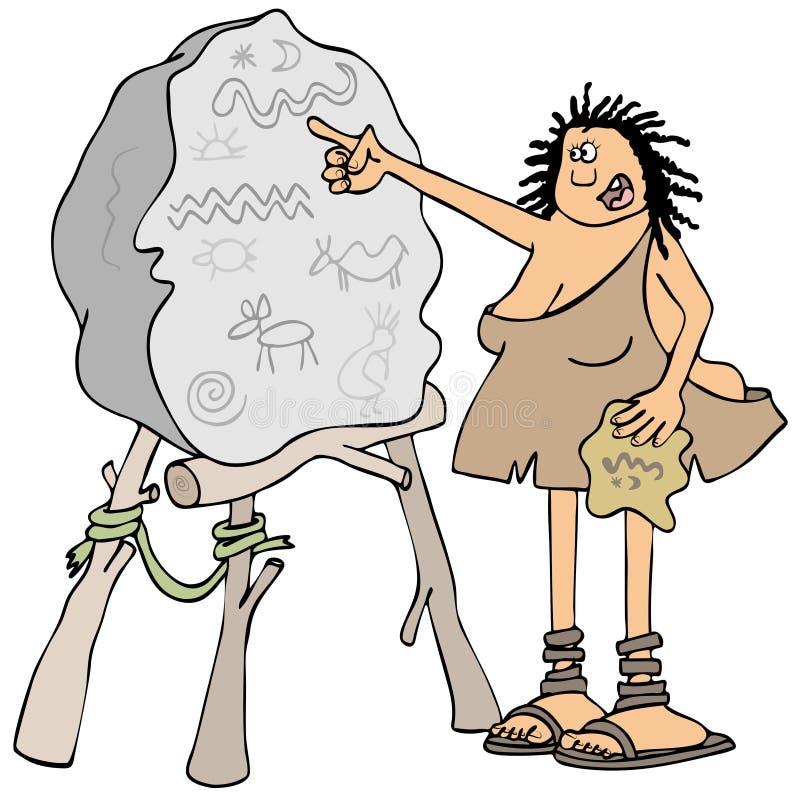 Profesor de los Cavewoman stock de ilustración