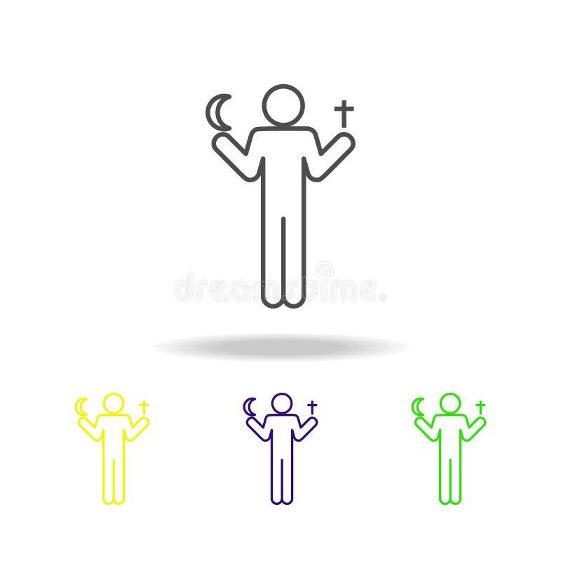 profesor de los iconos multicolores de la religión El pictograma de la muestra del símbolo de la educación se puede utilizar para ilustración del vector