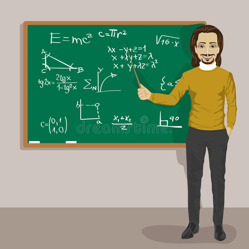 Profesor de matemáticas de sexo masculino joven que se coloca con un indicador al lado de una pizarra stock de ilustración