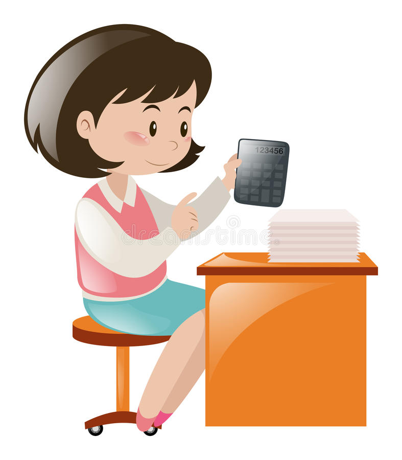 Profesor de matemáticas que se sienta en el escritorio ilustración del vector