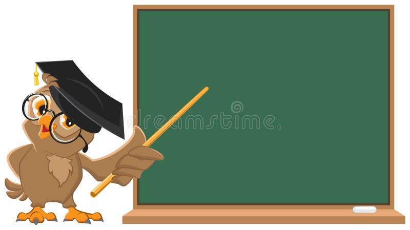 Profesor del búho que sostiene el indicador en la pizarra fotos de archivo