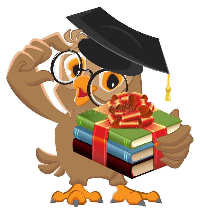 Profesor del búho que sostiene el libro de regalo El libro es el mejor regalo ilustración del vector