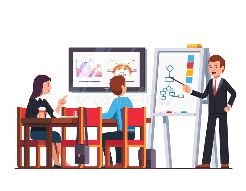 Profesor del hombre de negocios que da conferencia a los empleados ilustración del vector