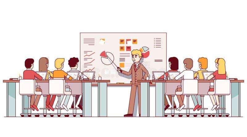 Profesor del negocio de MBA que da conferencia a los estudiantes stock de ilustración
