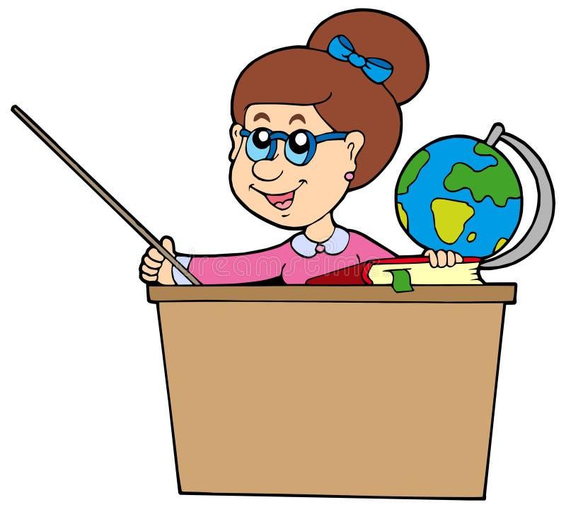Profesor detrás del escritorio stock de ilustración