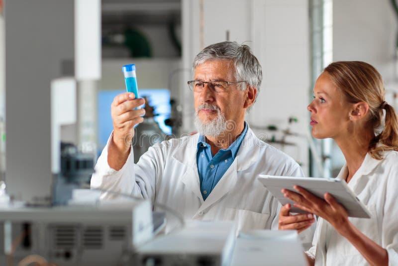 Profesor/doctor mayores de la química en un laboratorio foto de archivo libre de regalías