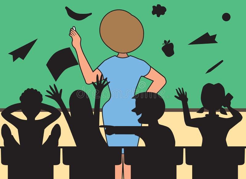 Profesor en la pizarra libre illustration