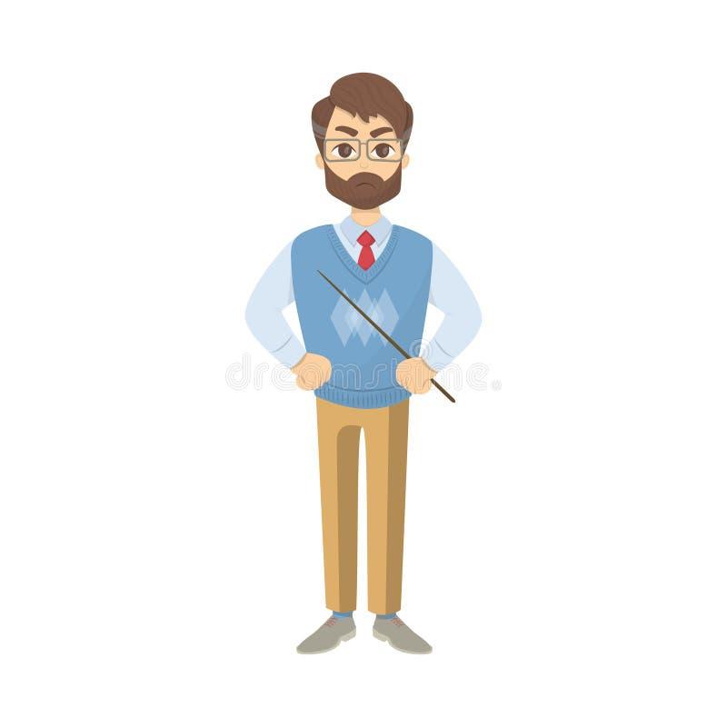 Profesor enojado aislado stock de ilustración