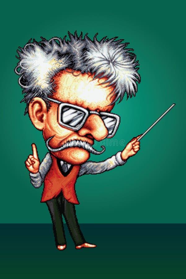 Profesor enojado - ejemplo retro del vector del estilo del pixel libre illustration