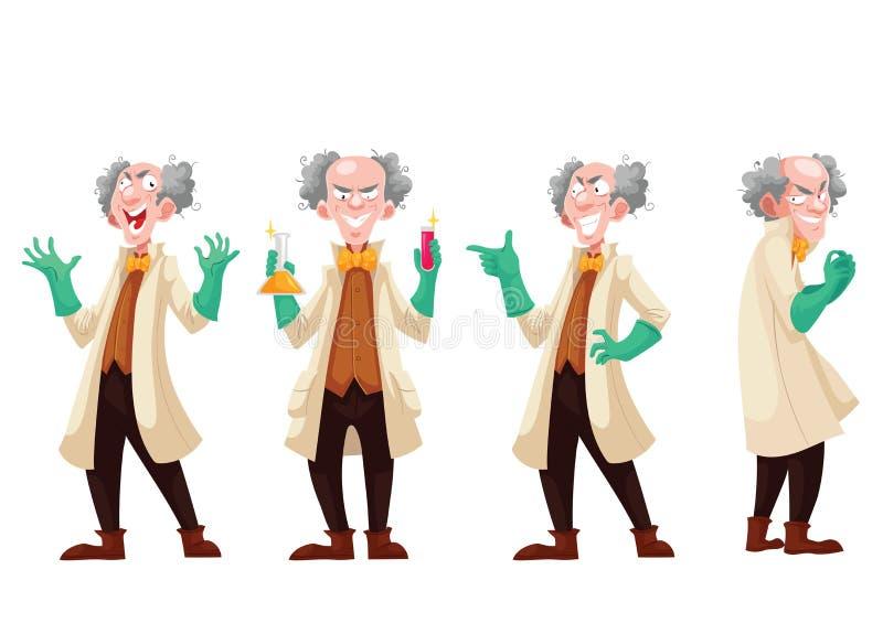 Profesor enojado en capa del laboratorio y guantes de goma verdes stock de ilustración