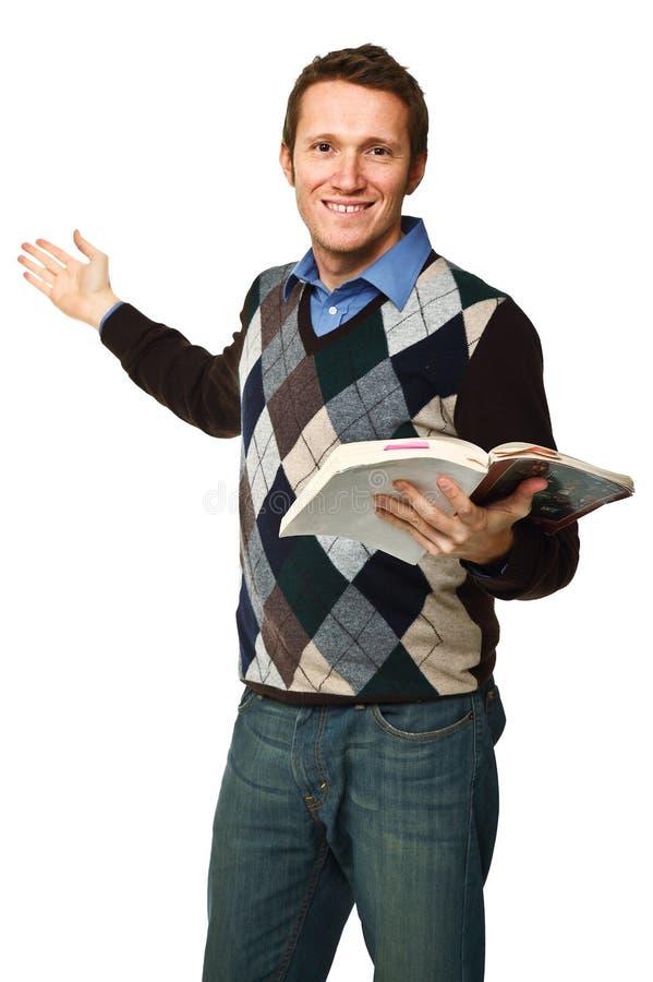 Profesor feliz con el libro foto de archivo libre de regalías