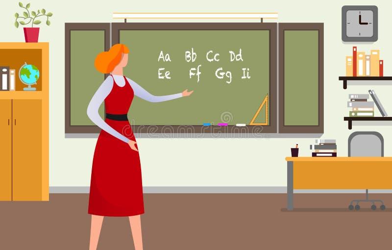 Profesor Giving Lesson en la sala de clase Alfabeto de la tiza libre illustration