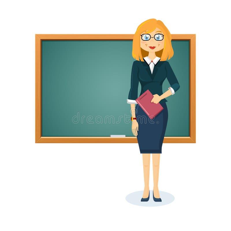 Profesor hermoso de la muchacha, empresaria con el documento cerca de la pizarra de madera educativa ilustración del vector