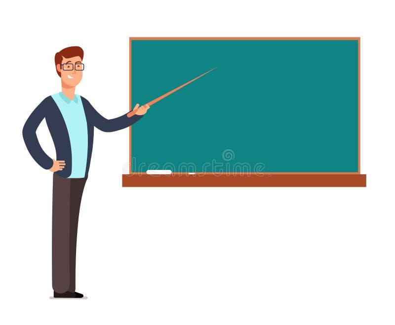 Profesor joven de la historieta, hombre del profesor en los niños de enseñanza de la pizarra en el ejemplo del vector de la sala  ilustración del vector
