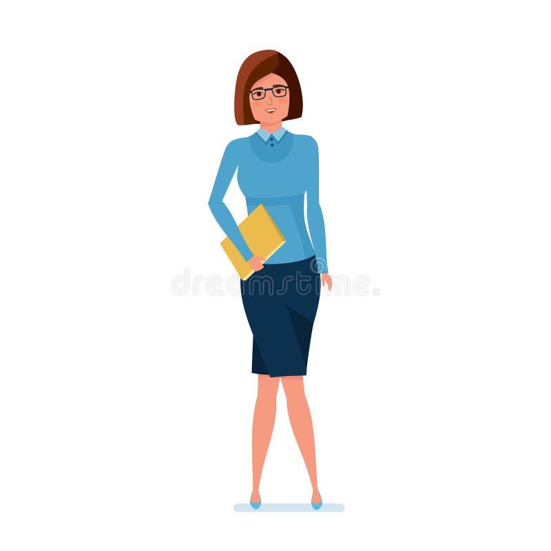 Profesor joven en ropa de trabajo estricta con la revista a disposición libre illustration