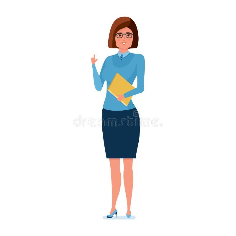 Profesor joven en ropa de trabajo estricta con la revista a disposición stock de ilustración