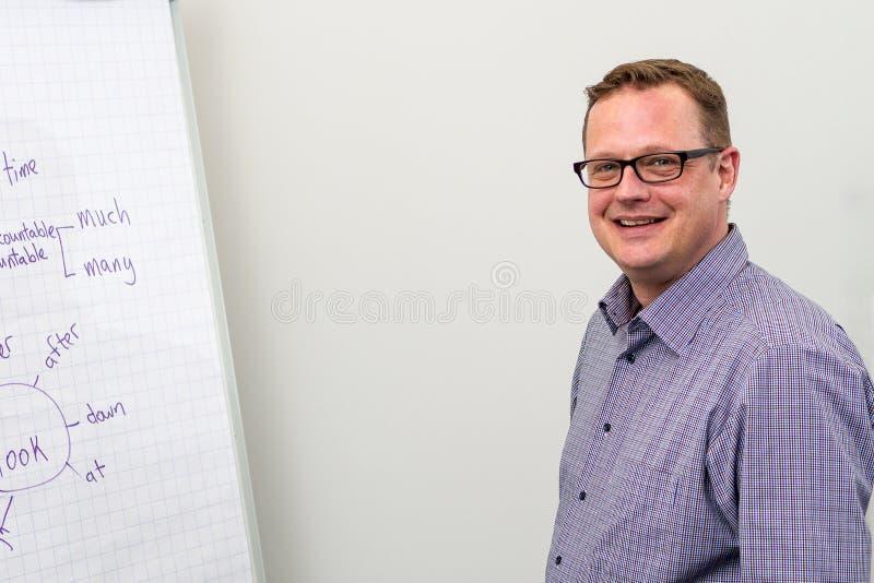 Profesor joven que escribe la gram?tica inglesa en el tablero Ingl?s del estudio imagenes de archivo