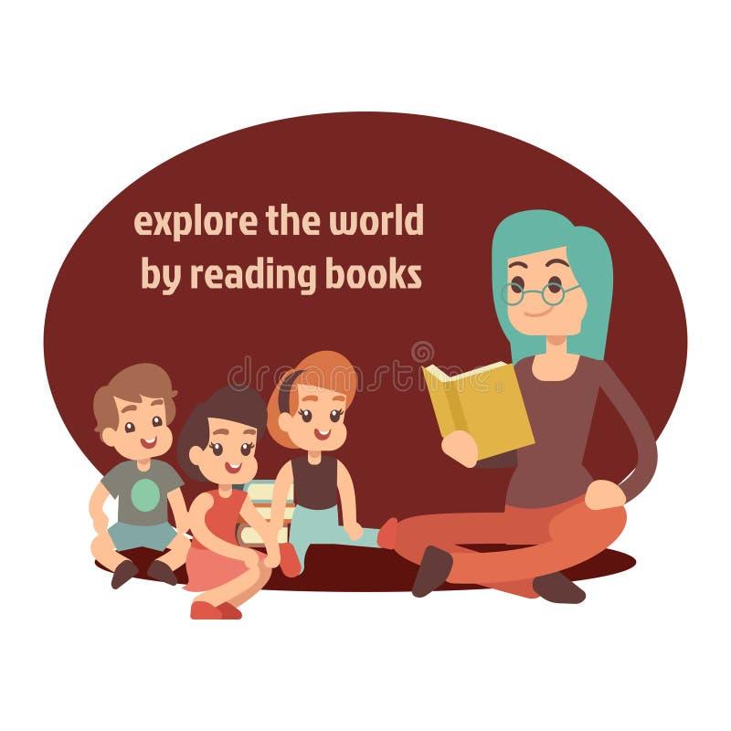 Profesor joven y libro de lectura feliz de los niños stock de ilustración
