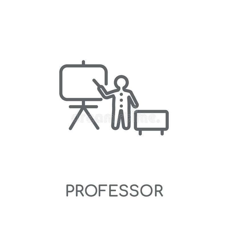 Profesor liniowa ikona Nowożytny konturu profesora logo pojęcie dalej ilustracja wektor