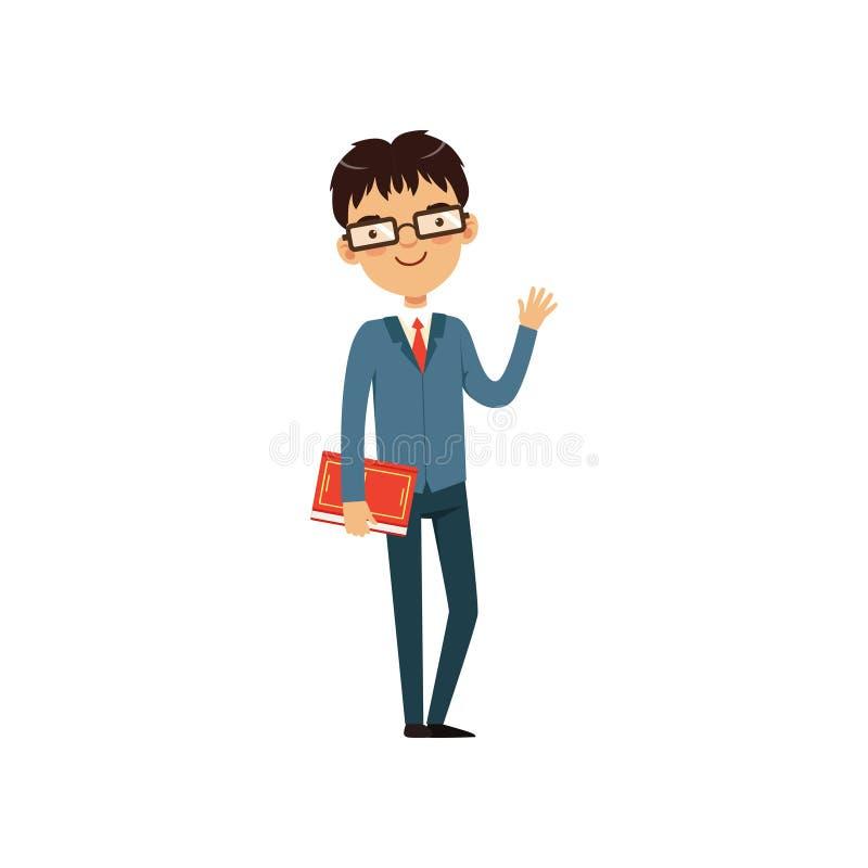 Profesor o estudiante inteligente que sostiene el libro y que agita a mano Carácter del empollón de la historieta en vidrios y tr stock de ilustración