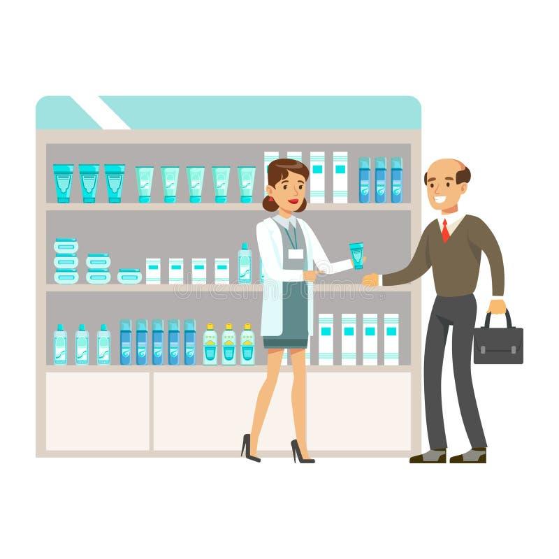 Profesor In Pharmacy Choosing del hombre y drogas y cosméticos de compra, parte del sistema de escenas de la droguería con los fa libre illustration