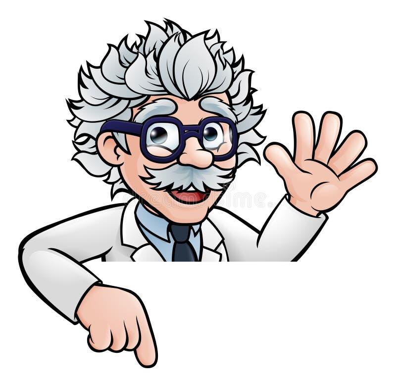 Profesor Pointing del científico de la historieta en la muestra stock de ilustración