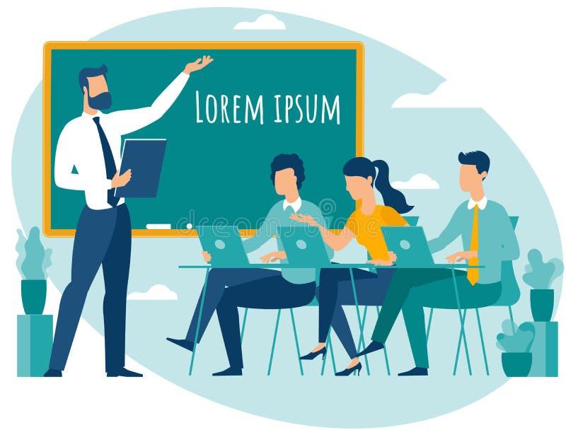 Profesor que habla al grupo de estudiantes stock de ilustración
