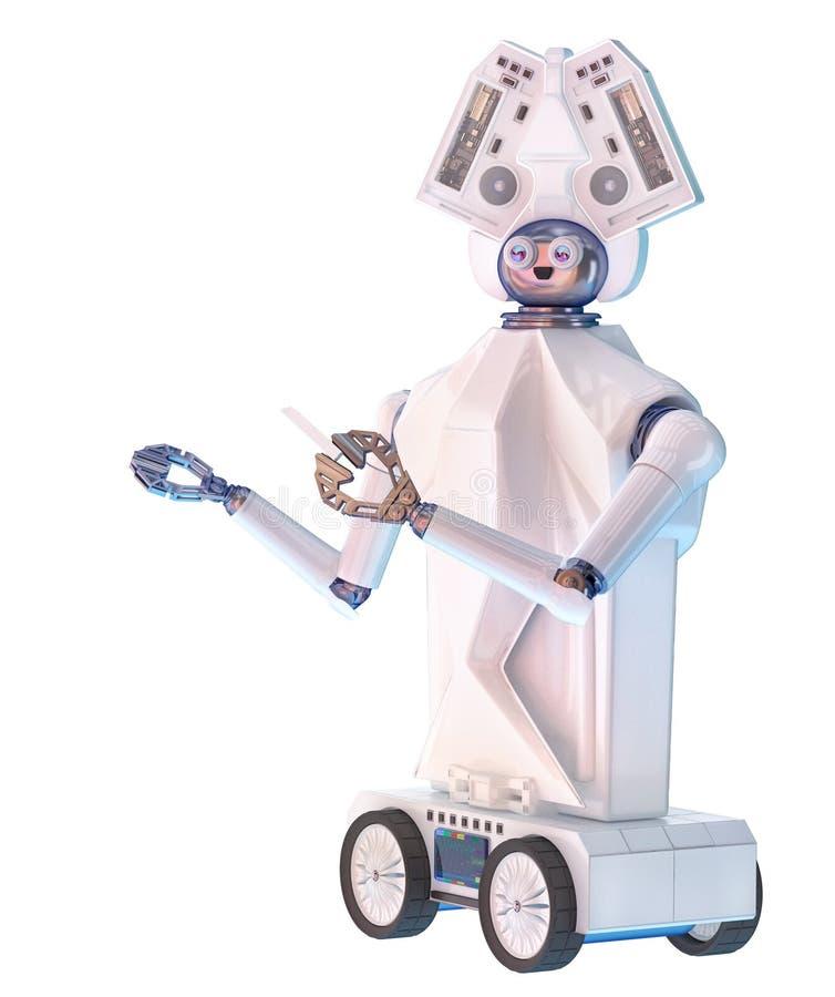 Profesor retro del robot que sostiene la tiza para el niño fotos de archivo