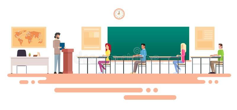 Profesor Uniwersytecki mowy nauczyciela szkoły wyższa Odczytowa klasa, grupa uczni ludzie, Biznesowy konwersatorium ilustracja wektor