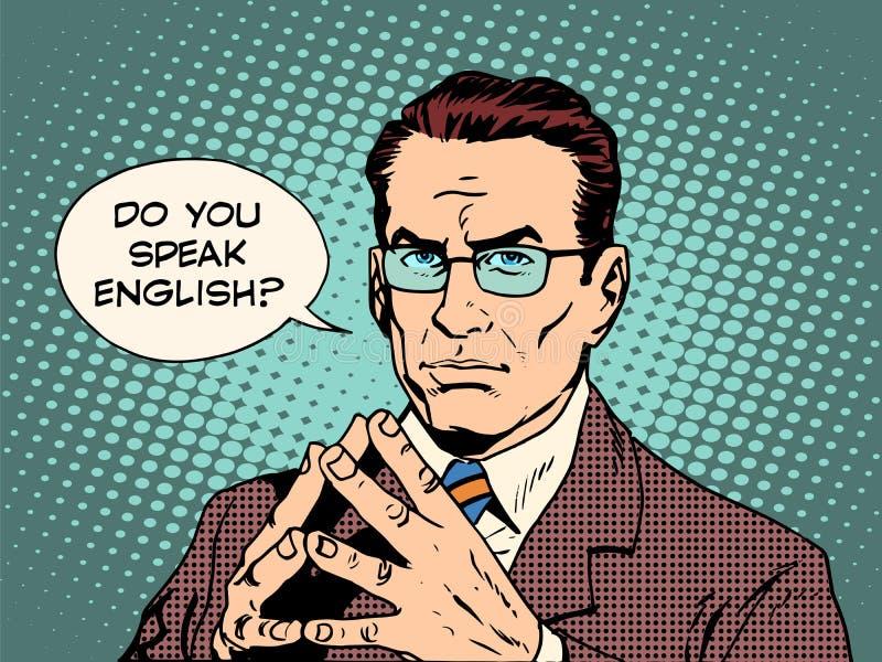 Profesor usted habla inglés stock de ilustración
