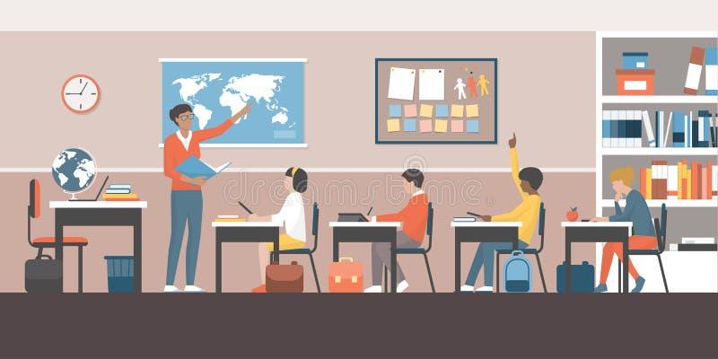 Profesor y alumnos en la sala de clase ilustración del vector