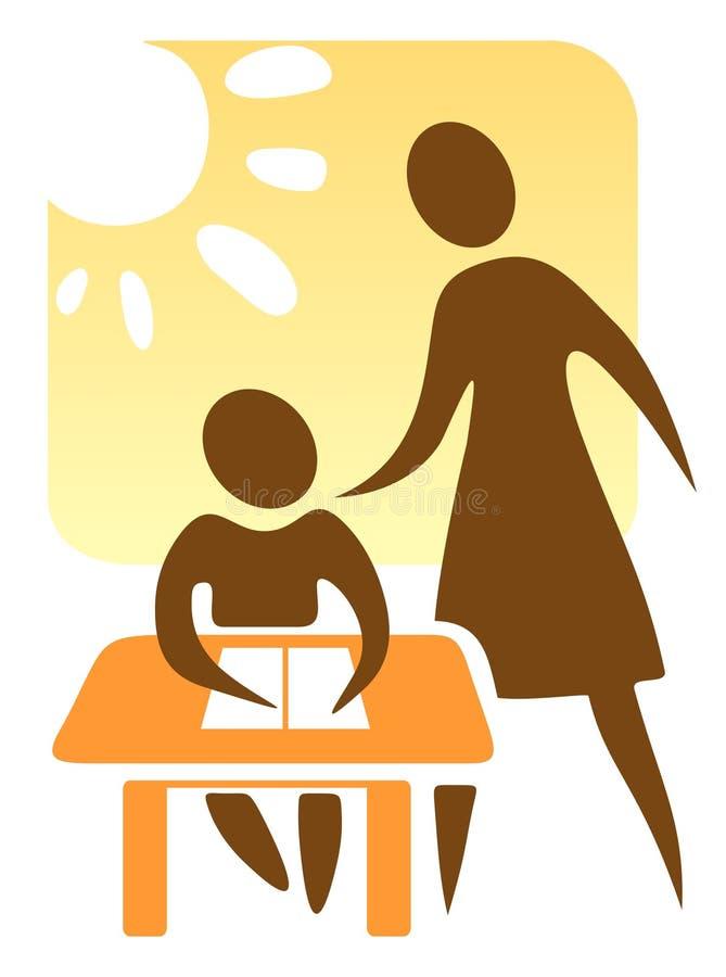 Profesor y colegial stock de ilustración