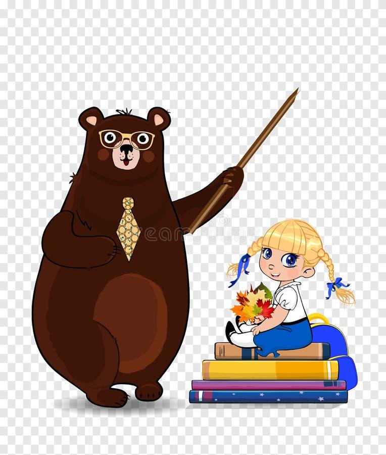 Profesor y colegiala del oso de la historieta que se sientan en la pila aislada, clip art de los libros libre illustration