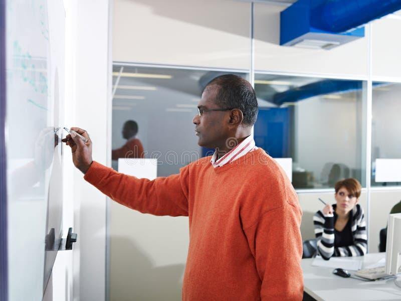 Profesor y estudiantes en laboratorio del ordenador imagen de archivo libre de regalías