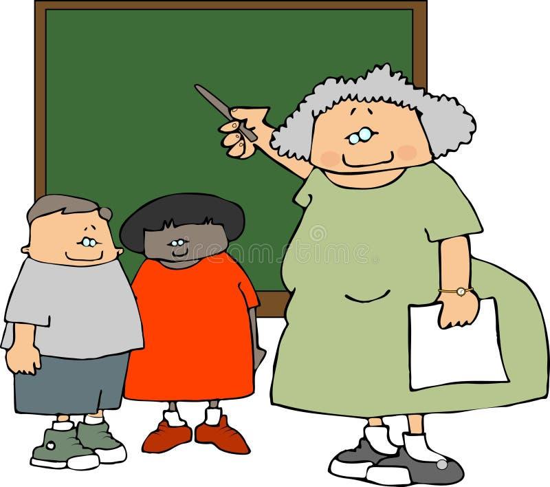 Profesor y estudiantes femeninos stock de ilustración