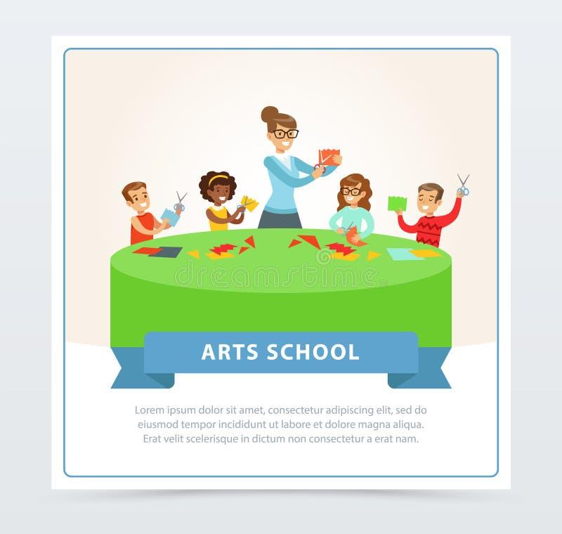 Profesor y grupo de niños en las lecciones del arte de papel stock de ilustración