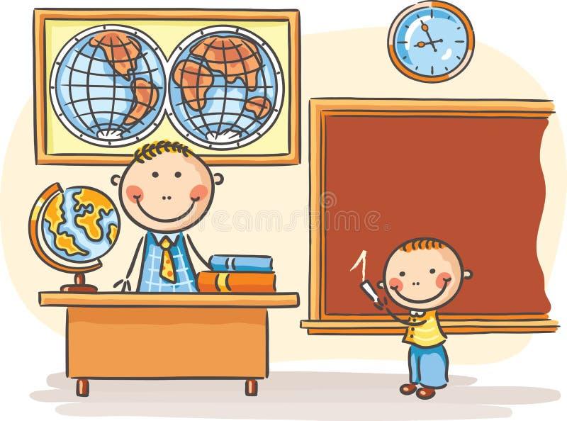 Profesor y un alumno en la lección ilustración del vector
