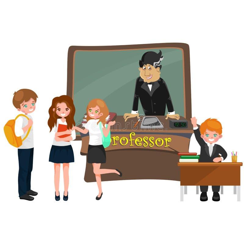 Profesora i ucznia ilustracja dziewczyna i chłopiec z nauczycielem w szkoły wyższa sala lekcyjnej, wektorowy kampusu uniwersytet, ilustracji