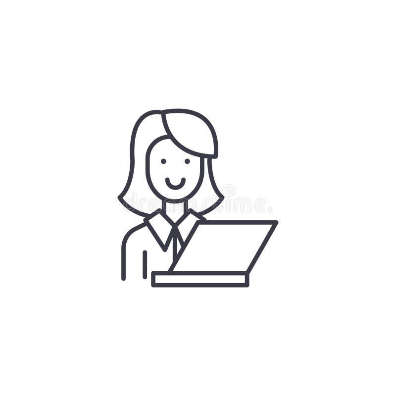 Professeur avec le concept linéaire d'icône d'ordinateur portable Professeur avec la ligne signe de vecteur, symbole, illustratio illustration de vecteur