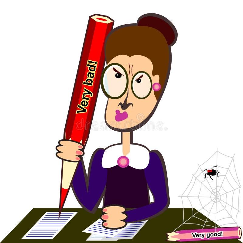 Professeur avec le grand crayon illustration stock