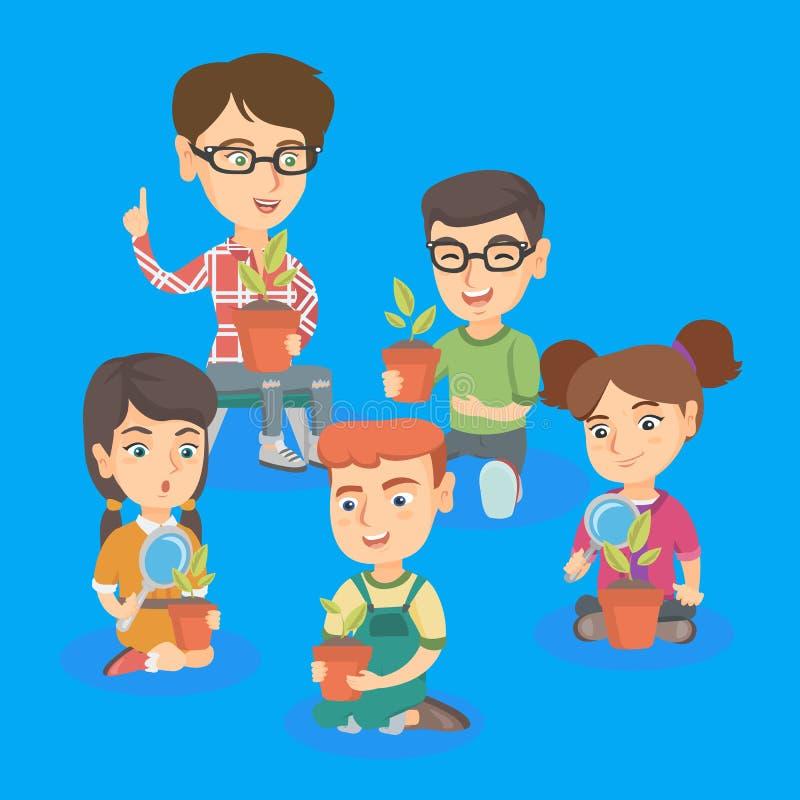 Professeur caucasien avec des enfants se renseignant sur des usines illustration stock