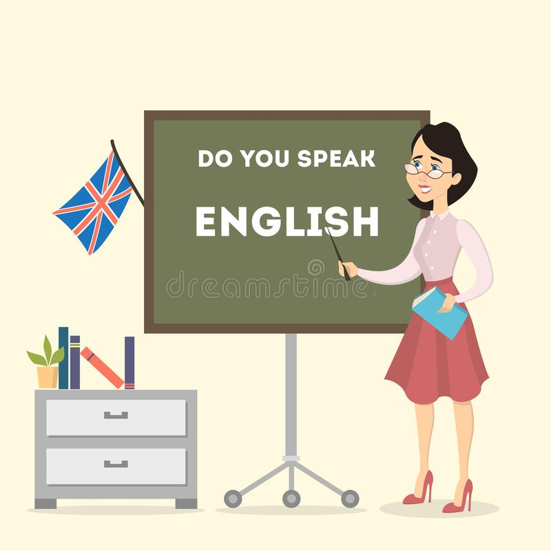 Professeur d'Anglais féminin illustration stock