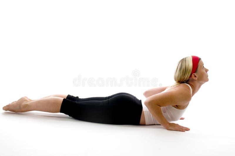 Professeur d'avion-école de forme physique de cobra de yoga photo stock