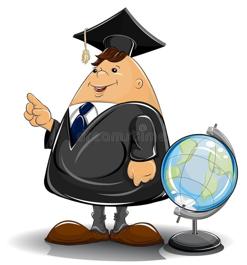 Professeur dans le manteau avec le globe illustration libre de droits