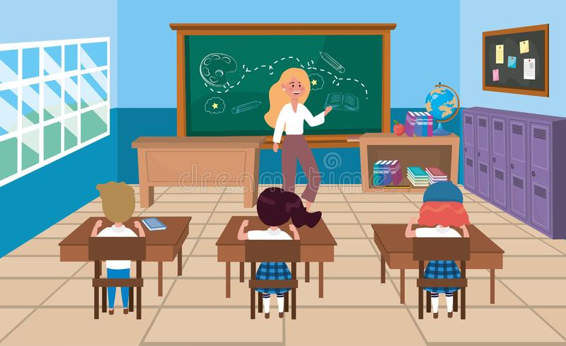 Professeur de femme avec des filles et des étudiants de garçon dans les bureaux illustration stock